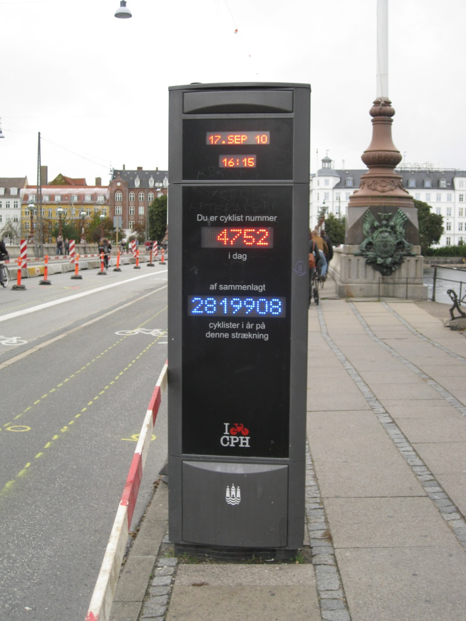 Public municipal counter in Copenhagen records the number of cyclists passing a specific point